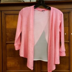 Other - Poof Girl Pink and White Cardiga Size Medium